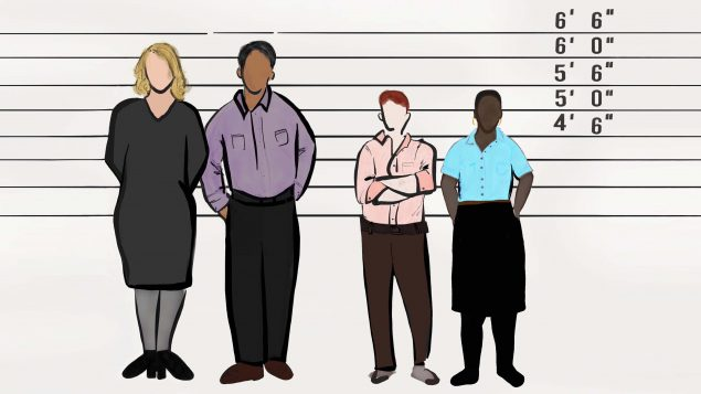 Drawing of four people in a police lineup