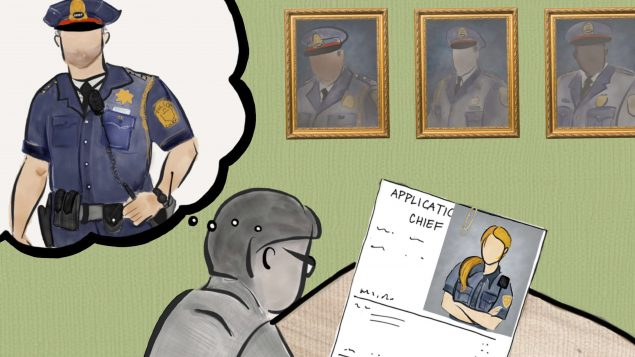 Drawing of a person looking at a Police Chief job application with a photo of a woman attached. A thought bubble shows a male police officer.