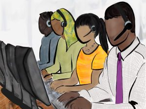 Drawing of four telemarketers of different races.