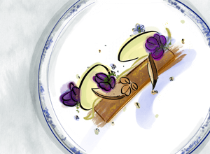 Drawing of food on a plate