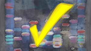Painting with yellow checkmark in forefront
