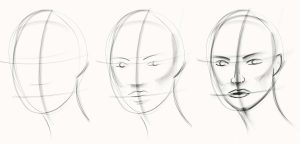 Three phases of a sketch of a person's head