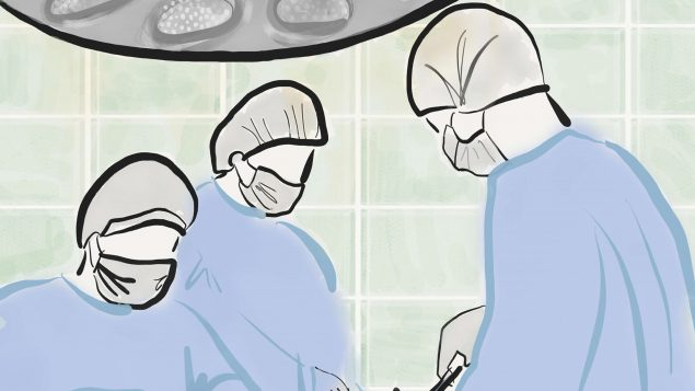 Drawing of surgeons in operating room.