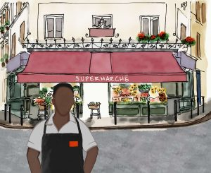 Drawing of person standing in front of a market.