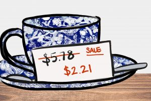 Drawing of a teacup and saucer with a card showing regular price and sale price.
