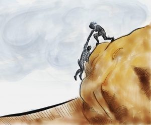 Drawing of a person helping another person up a rock