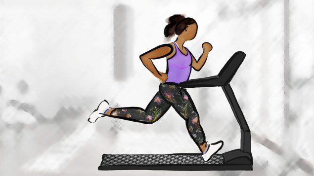 Drawing of a woman running on a treadmill