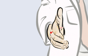 Drawing of a person holding out their hand with a red nail in between their fingers