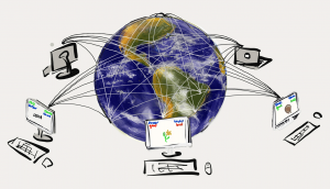 Drawing of five interconnected computers with Earth in the background.